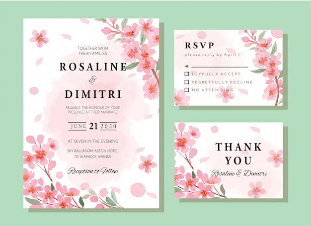 Conjunto de modelo de cartão de convite floral sakura primavera aquarela