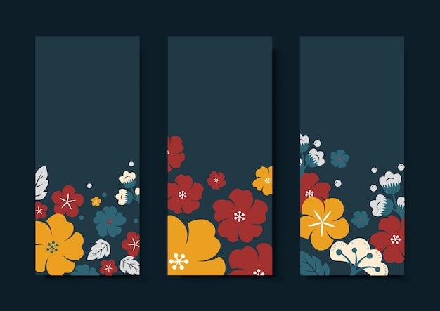 Conjunto de modelo de cartão de flor colorida