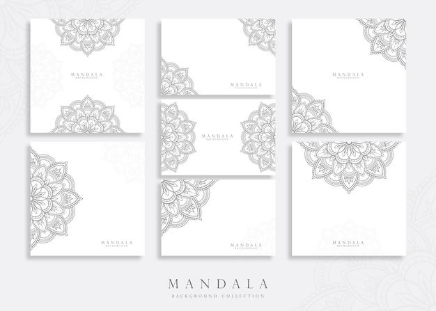 Conjunto de modelo de cartão de mandala para conceito abstrato e decorativo Vetor Premium