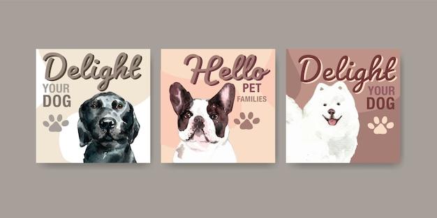 Conjunto de modelo de cartão de propaganda de cachorro em aquarela