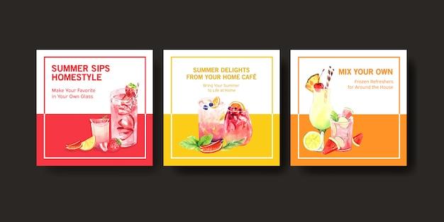Conjunto de modelo de cartão de verão mão desenhada