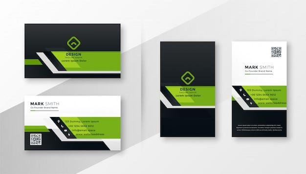 Conjunto de modelo de cartão de visita moderno verde profissional