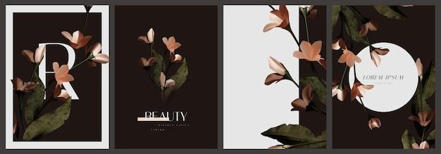 Conjunto de modelo de cartão floral vintage elegante e bonito