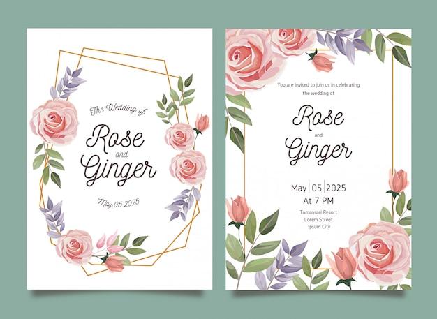 Conjunto de modelo de cartão lindo conjunto de convite de casamento floral