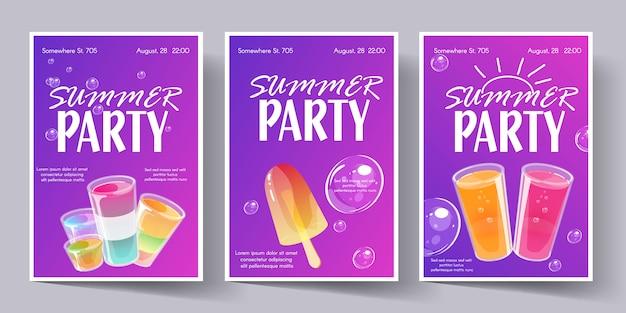 Conjunto de modelo de cartaz de festa de verão. panfleto de convite com tiros de cocktails.
