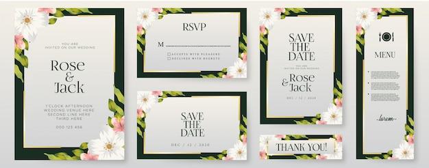 Conjunto de modelo de cartões de convite de casamento de flores