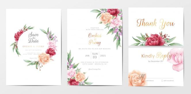 Conjunto de modelo de cartões de convite de casamento de folhagem romântica