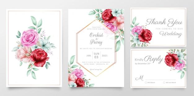 Conjunto de modelo de cartões de convite de casamento elegante buquê floral