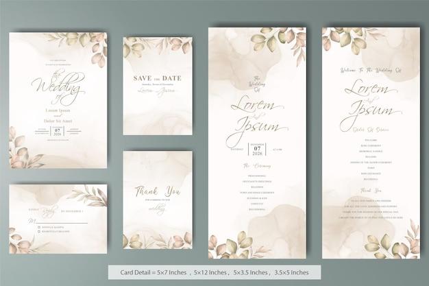 Conjunto de modelo de cartões de convite de casamento elegante com aquarela desenhada à mão floral