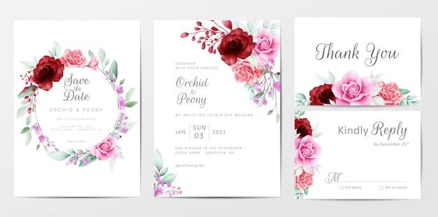 Conjunto de modelo de cartões de convite de casamento elegante flores em aquarela