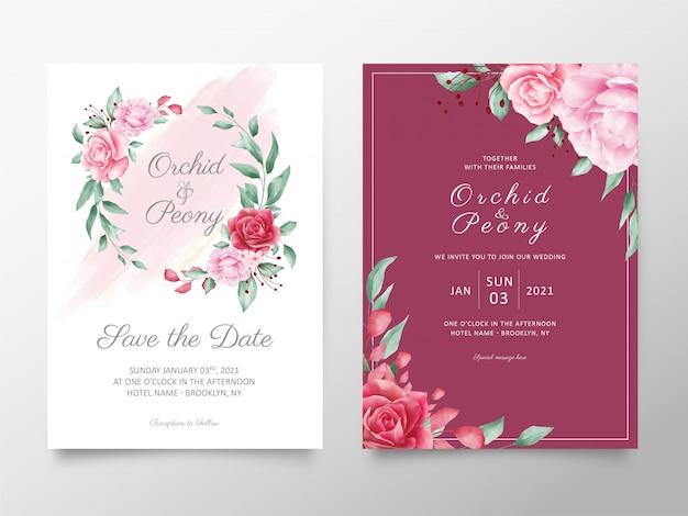 Conjunto de modelo de cartões de convite de casamento elegante flores