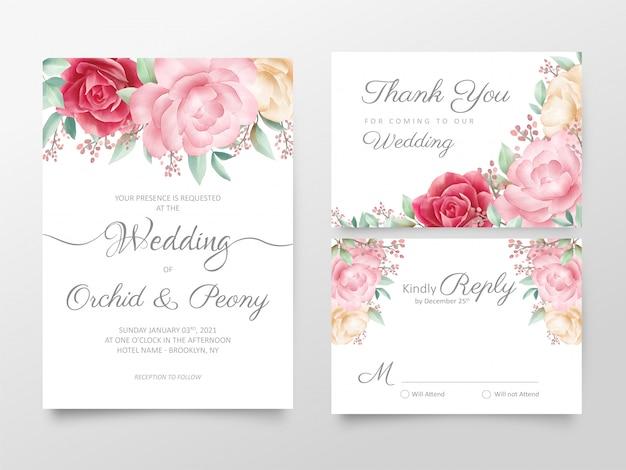 Conjunto de modelo de cartões de convite de casamento floral aquarela elegante