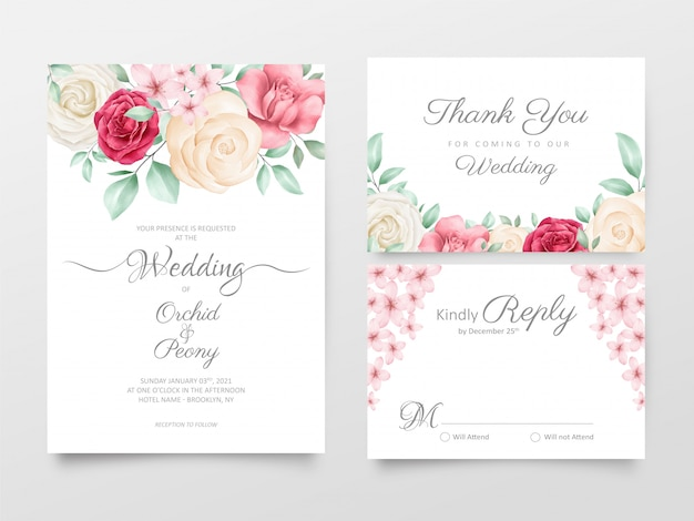 Conjunto de modelo de cartões de convite de casamento floral aquarela linda