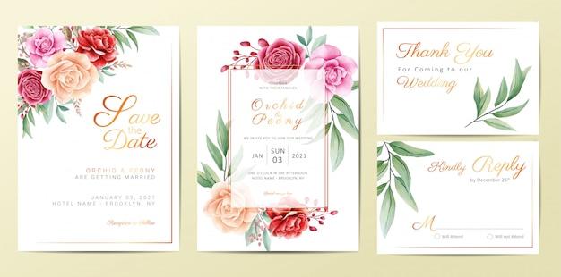 Conjunto de modelo de cartões de convite de casamento floral dourado elegante