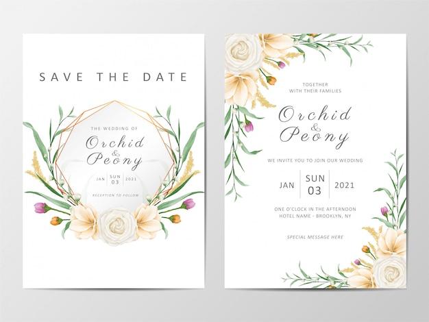 Conjunto de modelo de cartões de convite de casamento floral romântico