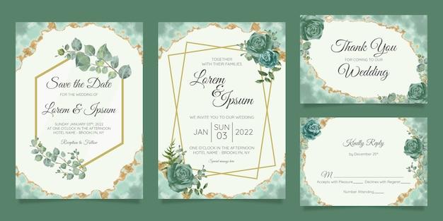 Conjunto de modelo de cartões de convite de casamento floral