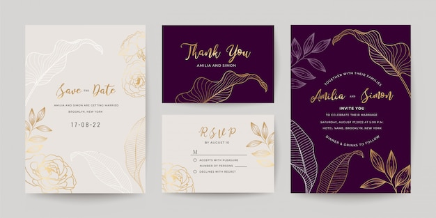 Conjunto de modelo de cartões de convite de casamento.