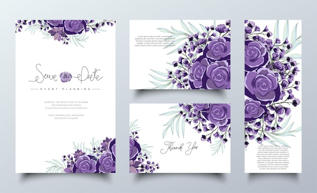 Conjunto de modelo de cartões de convite floral roxo