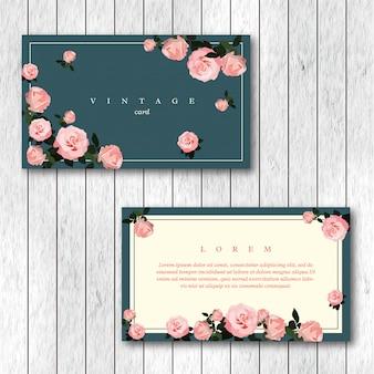 Conjunto de modelo de cartões florais horizontais vintage