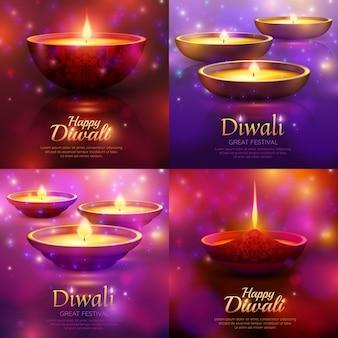 Conjunto de modelo de celebração de diwali