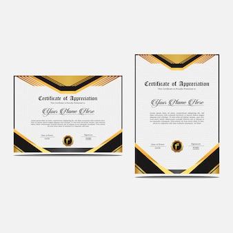 Conjunto de modelo de certificado de apreciação