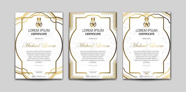 Conjunto de modelo de certificado de luxo