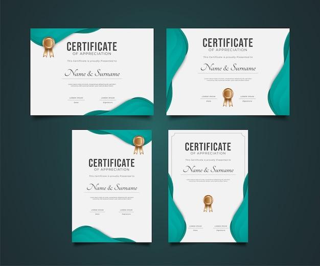 Conjunto de modelo de certificado moderno com estilo de corte de papel