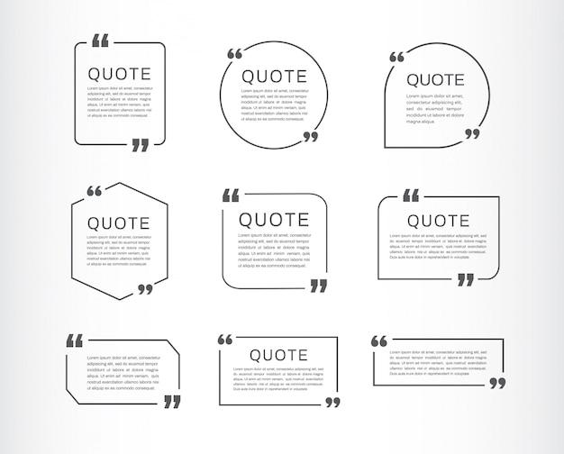 Conjunto de modelo de citação. citação caixa de discurso.