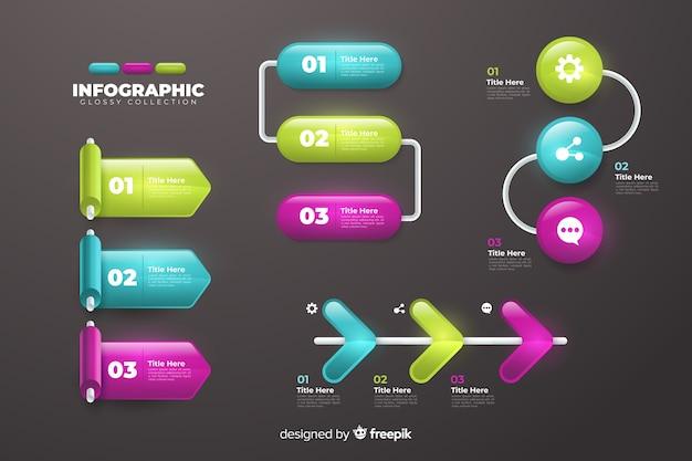 Conjunto de modelo de coleção de etapas de infográfico