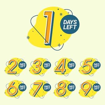 Conjunto de modelo de contagem regressiva com número de dias restantes