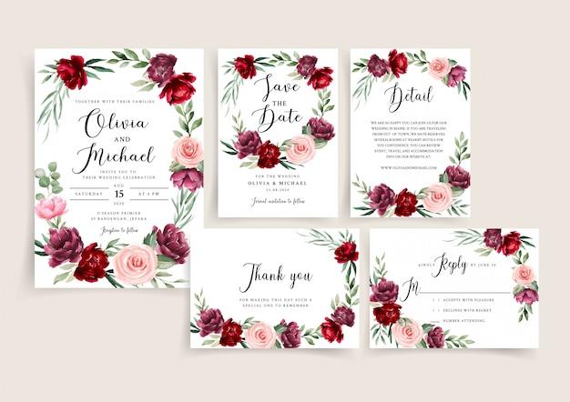 Conjunto de modelo de convite de casamento borgonha