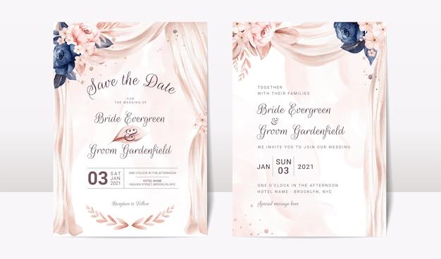 Conjunto de modelo de convite de casamento com arco em aquarela