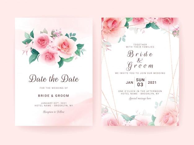 Conjunto de modelo de convite de casamento com buquê de flores e borda, pincelada e quadro geométrico.
