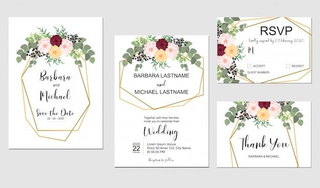Conjunto de modelo de convite de casamento com buquê de flores e moldura dourada