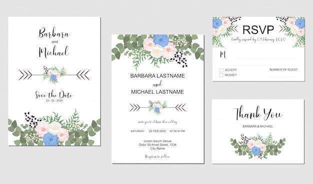 Conjunto de modelo de convite de casamento com buquê de flores pastel e vegetação