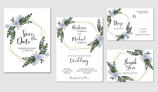 Conjunto de modelo de convite de casamento com decoração de buquê de flores roxas