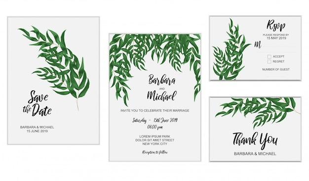 Conjunto de modelo de convite de casamento com decoração de folha de eucalipto