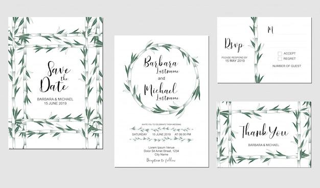 Conjunto de modelo de convite de casamento com decoração de plantas de bambu