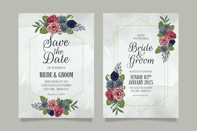 Conjunto de modelo de convite de casamento com design floral de rosas em aquarela