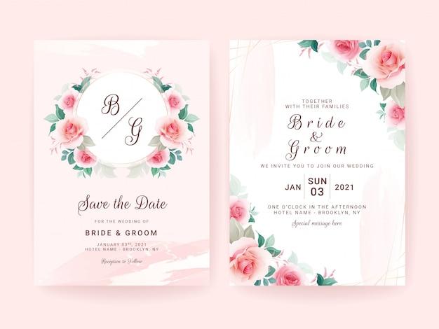 Conjunto de modelo de convite de casamento com distintivo de quadro floral & fronteira, pincelada e linha de ouro.