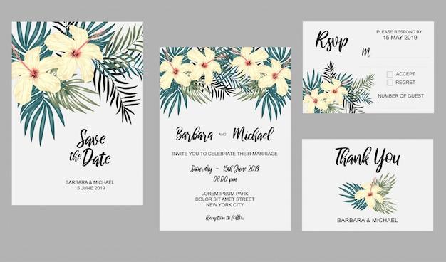 Conjunto de modelo de convite de casamento com flor de hibisco e decoração de folha tropical