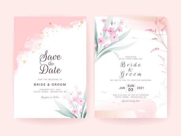 Conjunto de modelo de convite de casamento com formas abstratas e borda floral.