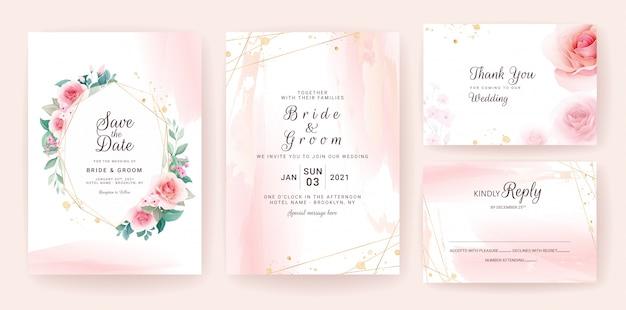 Conjunto de modelo de convite de casamento com formas abstratas e moldura floral.