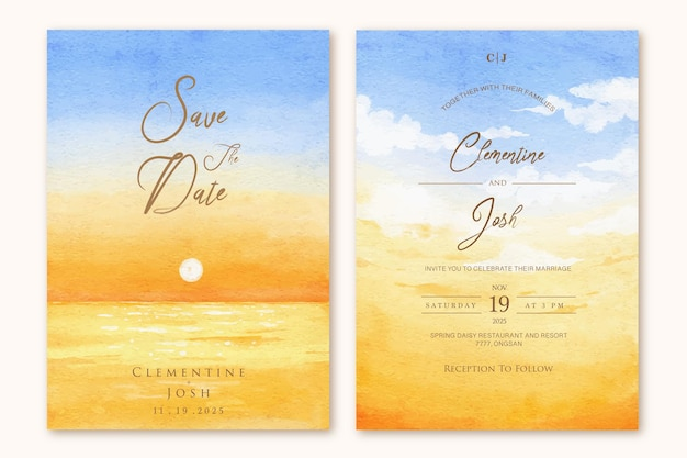 Conjunto de modelo de convite de casamento com fundo aquarela céu pôr do sol praia mão desenhada