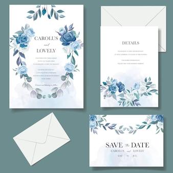 Conjunto de modelo de convite de casamento com lindo buquê floral azul e decoração de borda