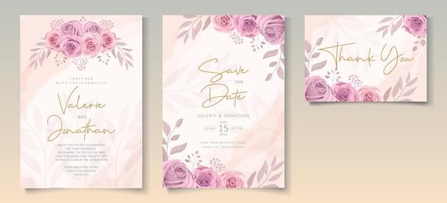 Conjunto de modelo de convite de casamento com lindo design de rosas desabrochando em rosa suave