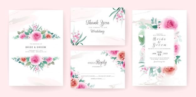Conjunto de modelo de convite de casamento com moldura floral, borda e pincelada ouro.