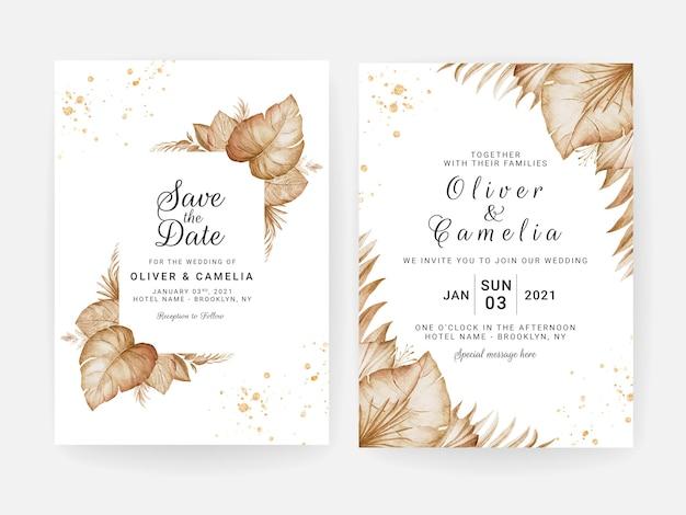 Conjunto de modelo de convite de casamento. conceito de design de cartão botânico