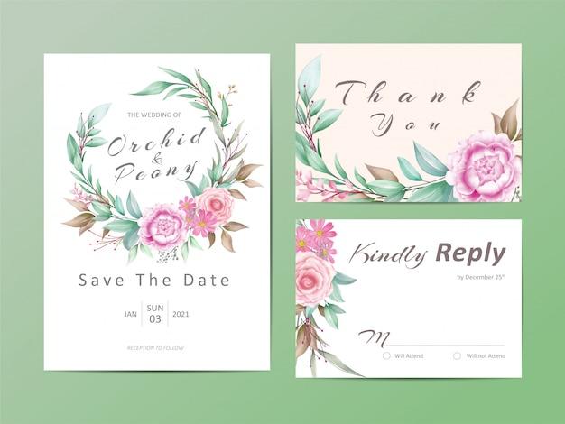 Conjunto de modelo de convite de casamento de ramo de aquarela floral