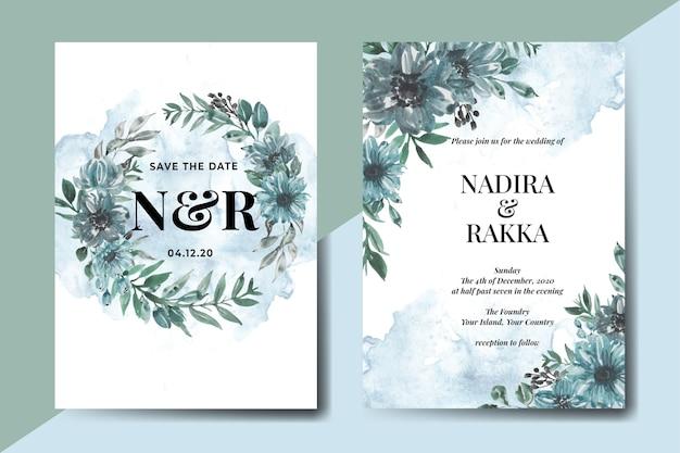 Conjunto de modelo de convite de casamento floral aquarela flor azul